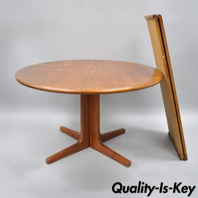 Vtg Mid Century Danish Modern Round Teak Dining Table Extension With 2 Leaves From Vintage Philly Furniture Of Philadelphia Attic