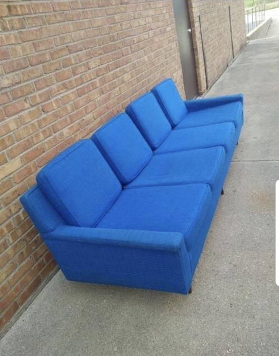 Vintage Mid Century Modern Milo Baughman Original Cobolt Blue Fabric Sofa for Thayer Coggin
