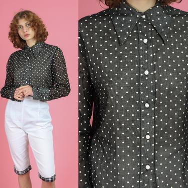 70s Black & White Polka Dot Cufflink Top - Large | Vintage Sheer Sleeve Button Up Collared Disco Shirt by FlyingAppleVintage