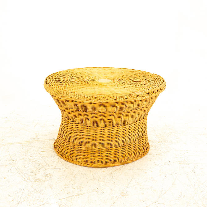 Eero Aarnio Mid Century Wicker Side End Table Ottoman  - mcm by ModernHill
