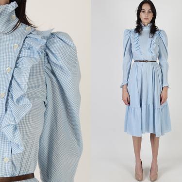 Vintage 80s Country Saloon Dress / Blue White Gingham Plaid Dress / Womens Field Chore Ruffle Dress / Western Prairie Mini Midi Dress by americanarchive
