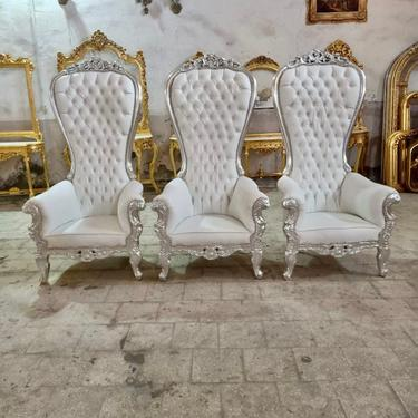Silver Throne Chair White Leather Chair 2 Available French Tufted Chair Throne Chair Tufted Silver Frame Throne Chair Rococo Interior Design by SittinPrettyByMyleen