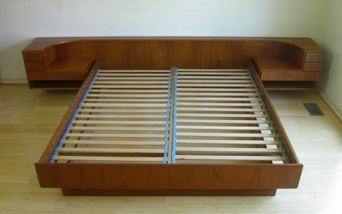 Teak Danish Modern King Platform Bed by Komfort + Nightstands MCM Mid Century