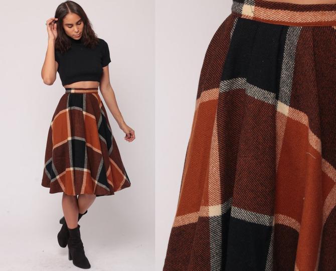 3cb67b97e Plaid Wool Skirt XXS Midi Skirt School Girl Plaid Tartan High Waisted 70s  Black Orange Preppy