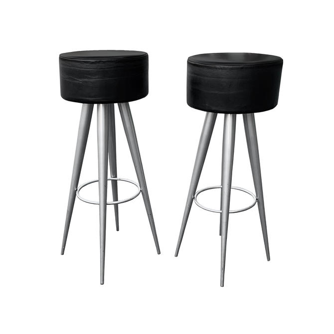 Modern Black Leather Bar Stools Made in Italy by TheModernHistoric