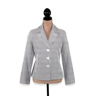 Gray & White Pinstripe Blazer Medium Cotton Jacket Lightweight Casual Spring Summer Clothes Women Y2K Vintage Clothing Talbots Petite Size 8 by MagpieandOtis