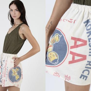 Vintage Flour Sack Mini Shorts / Kokeshi Hawaiian Rice / Elastic Drawstring Waistband / Americana Print Feed Pouch Mini Dress With Pockets by americanarchive
