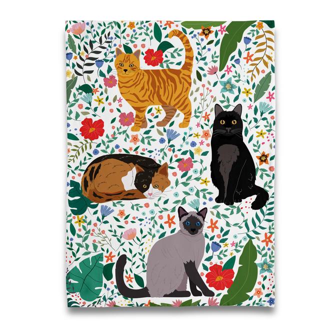 Garden of Kitty Cats Tea Towel