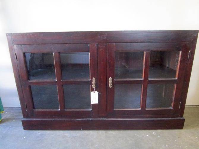 WALNUT BUFFET WITH GLASS DOORS