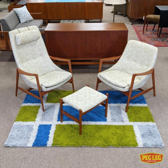 Pair of Danish Modern teak chairs with ottoman by Rolf Rastad and Adolf Relling