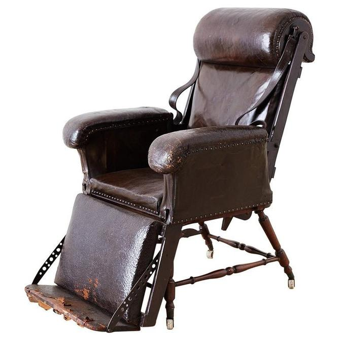 19th Century French Napoleon III Leather Reclining Armchair by ErinLaneEstate