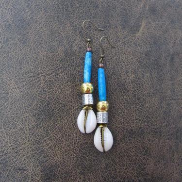 Cowrie shell earrings, carved bone earrings,African Afrocentric earrings, tribal jewelry, ethnic earrings, long dangle earrings, exotic blue by Afrocasian