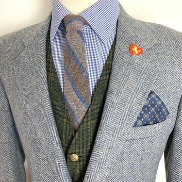 Vintage Stafford 100% Wool TWEED Blazer ~ 38 to 40 R ~ Herringbone jacket / sport coat ~ Preppy / Ivy League / Trad ~ by SparrowsAndWolves