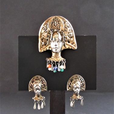 Natacha Brooks Scheherazade Persian Queen Sterling Brooch and Earrings by ArtloversFinds