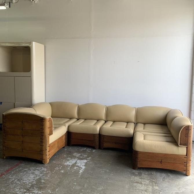 Pacific Green Modular Leather Sectional by VintageOnPoint