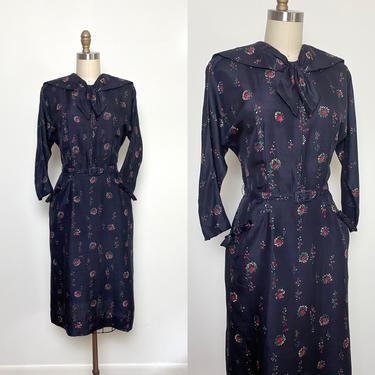 Vintage 1950s dress 50s Silk Dress w Belt Pockets Navy Floral by littlestarsvintage