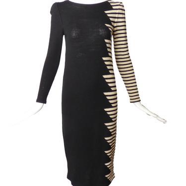 ADOLFO-1980s Wool Sweater Knit Dress, Size-4