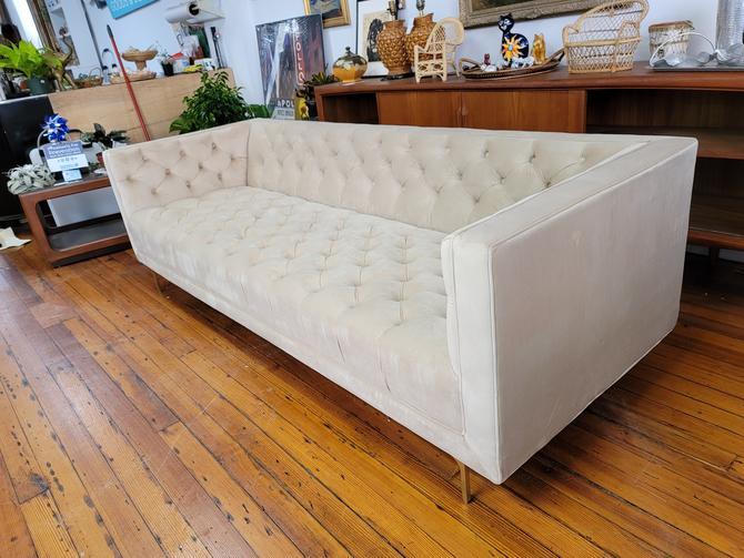 Velvet Tufted Sofa with Metal Legs