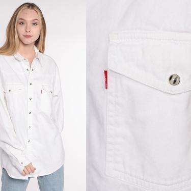 White Levis Shirt -- Button Down Shirt up 90s Grunge Levi Jean Boyfriend Oversized Cotton 1990s Long Sleeve Oxford Vintage Men's Medium by ShopExile