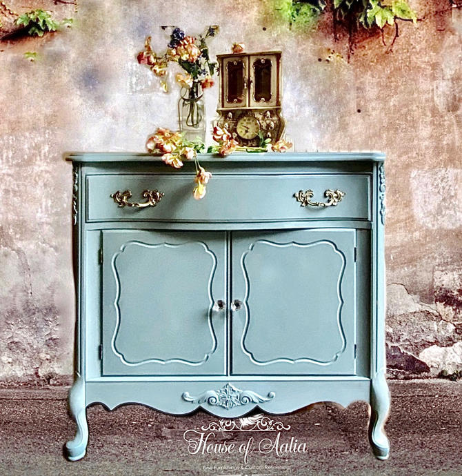 Duck Egg Blue French Provincial Dresser. Four Drawer Lowboy.  Master Bedroom. Eclectic Living Room Anthropologie Inspired. by HouseofAalia