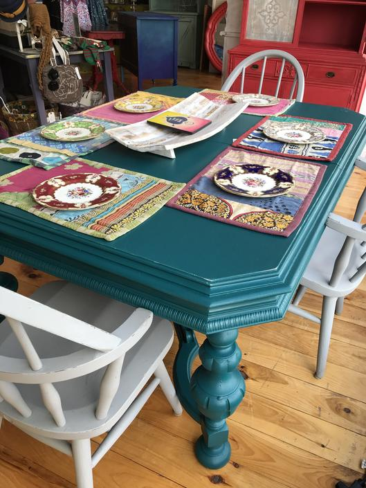 Funky Ornate Antique Turquoise Table withLeaf