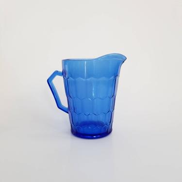 Cobalt Blue Glass Creamer / Vintage Blue Depression Glass / Colored Glassware Mini Pitcher / Collectible Home Decor / Retro Christmas Decor by SoughtClothier