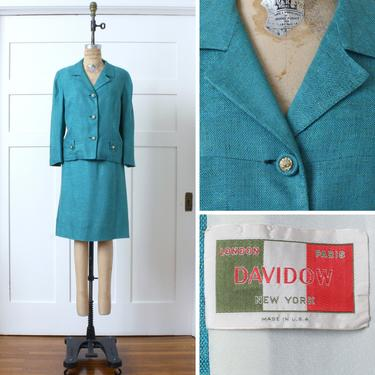 vintage early 1960s womens suit • teal blue linen & silk skirt set • boxy cut jacket by Davidow by LivingThreadsVintage