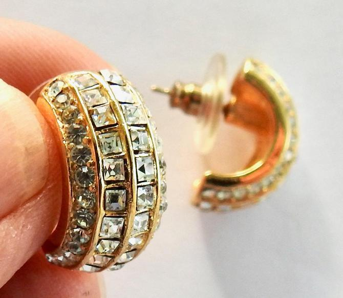 Rhinestone Gold Tone Pierced Earrings by LegendaryBeast