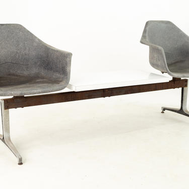 Eames Style Burke Mid Century Fiberglass Chair Two Seater Table Bench - mcm by ModernHill