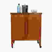Danish Modern Teak Locking Expanding Bar \/ Storage Cart