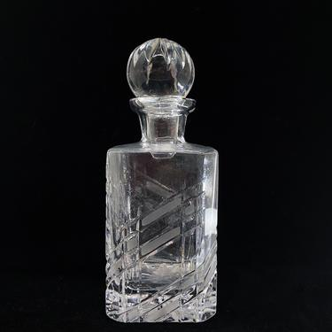 Antique Geometric Pattern Cut Glass Decanter with Ball Stopper by BluffStProps