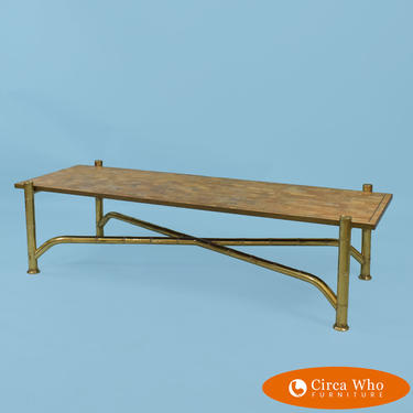 Brass & Stone Faux Bamboo Coffee Table by Maitland Smith