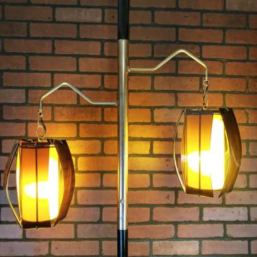 Retro 2 Chain Hanging Light Smoked Lucite Brown Shades Tension Pole Lamp Light by RedsRustyRelics