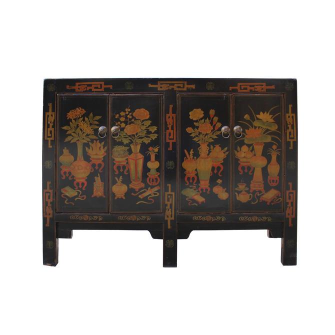 Distressed Black Base Color Flower Vases Graphic Sideboard Cabinet cs5349E by GoldenLotusAntiques