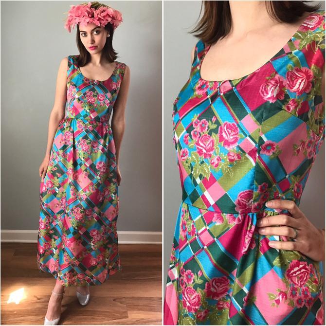 Vintage 70s Shimmer Pink Floral Gown by SpeakVintageDC