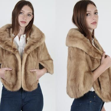 60s Natural Light Brown Mink Fur Capelet / 1960s Real Blonde Mink Cape / Vintage Huge Draped Fur Shawl Collar / Womens Cropped Lined Shrug by americanarchive
