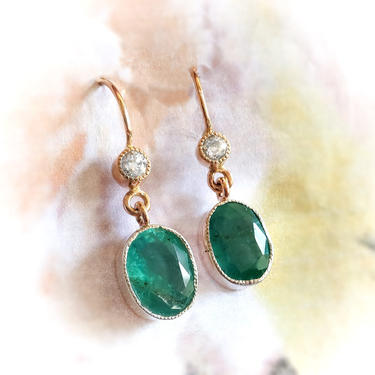 Antique Victorian 1890's Russian Natural Emerald & Old European Cut Diamond Wire Drop Earrings 14k Gold Silver by YourJewelryFinder