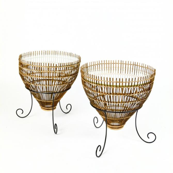 Pair of 1960s Fish Basket Tables