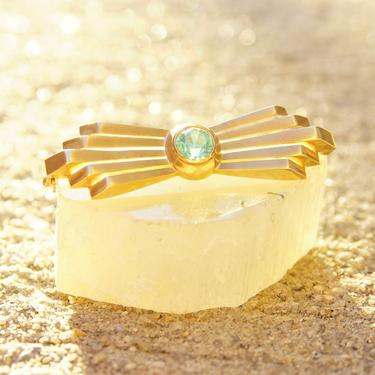"Vintage 14K Rose Gold & Aquamarine Bar Pin, Art Deco Brooch, Brilliant Blue Gemstone, Golden Ray Deco Setting, 585 Jewelry, 2"" L by shopGoodsVintage"