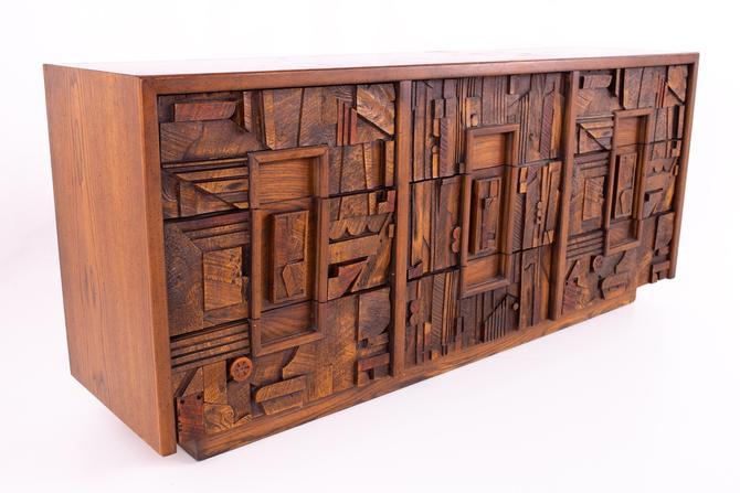 Paul Evans Style Lane Pueblo Brutalist Walnut 9 Drawer Mid Century Lowboy Dresser - mcm by ModernHill