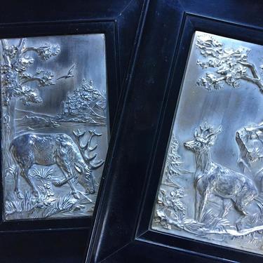 Vintage Deer Art, Silver Embossed Deer Or Elk, Framed Woodland Deer Artwork, Original Art, Rustic Cabin Decor, Man Cave, Hunting by luckduck