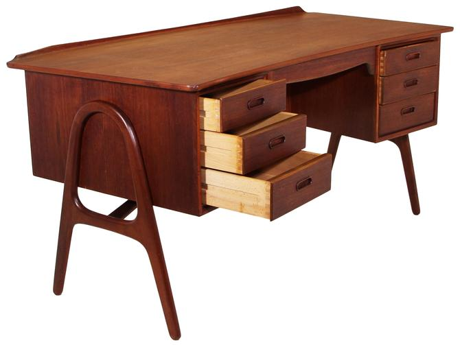 Mid Century Teak Free Standing Desk By Svend Madsen On Hold for Staging by RetroPassion21
