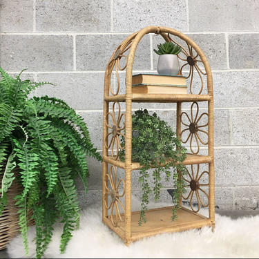 Vintage Shelving Unit Retro 1960s Rare + Straw and Rattan + Daisies + 3 Tiers + Mid Century + Plant Stand + Bohemian + Storage + Home Decor by RetrospectVintage215