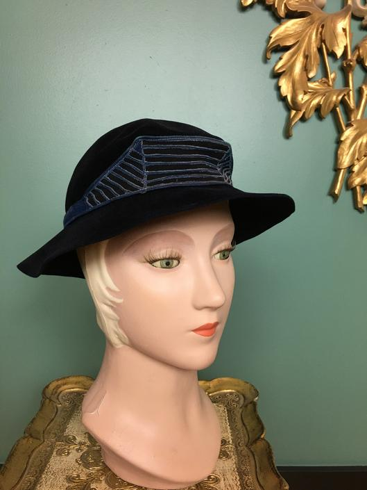 1930s hat, Austrian velour, Art Deco hat, vintage 30s hat, maynox hats New York, wide brim hat, embroidered hat, nay blue hat, film noir by BlackLabelVintageWA