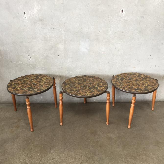 Mid Century Floral Design Nesting Tables