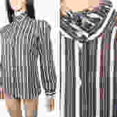 Vintage 70s Frilly High Neck Vertical Stripe Blouse Size M by VelvetCastleVintage