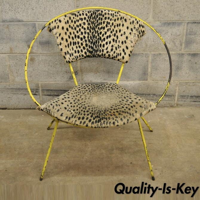 Vintage Wrought Iron Italian Mid Century Modern Hoop Lounge Chair
