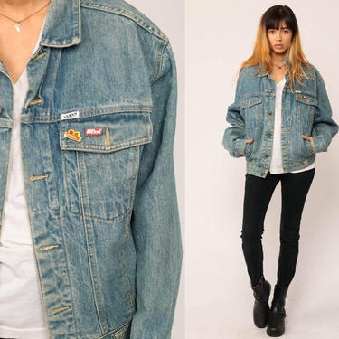 GUESS Jean Jacket 80s Denim Jacket Vintage Oversized Trucker BUD Racing PIN Grunge Biker Blue Button Up 90s Hipster Coat Small by ShopExile
