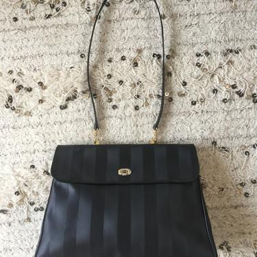 Vintage FENDI FF Monogram Large PEQUIN Stripe Leather Logo Crossbody Clutch Tote Bag Purse Zucca Satchel by MoonStoneVintageLA