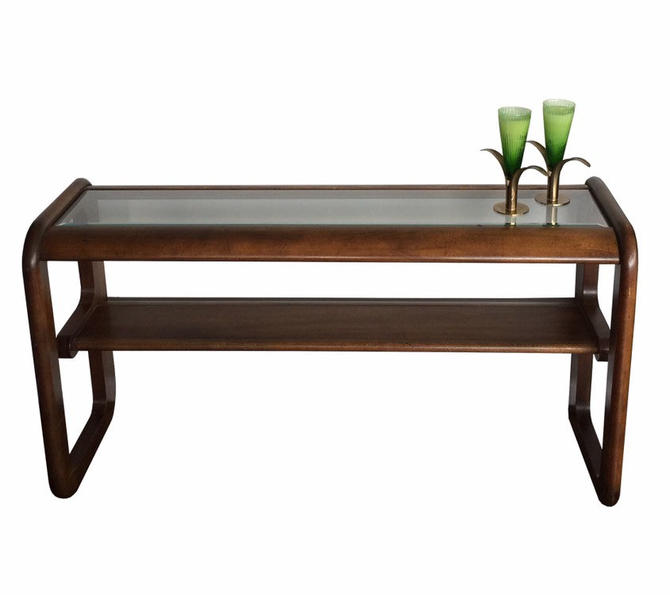 Lou Hodges Mid-Century Oak Two Tier Console - Pickup Only and Delivery to Selected Cities by UrbanInteriorsBalt